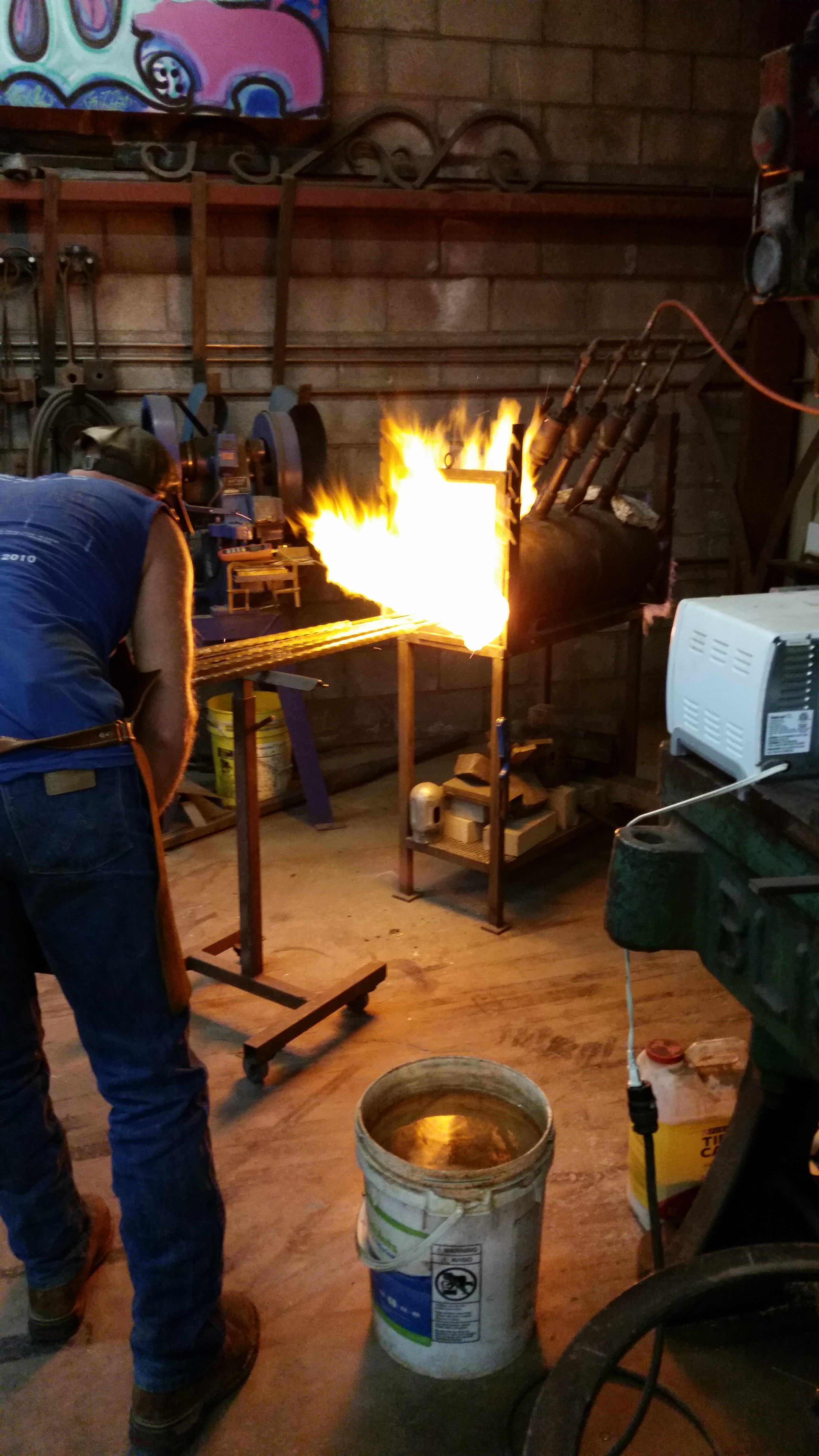 billets loaded into forge and heating