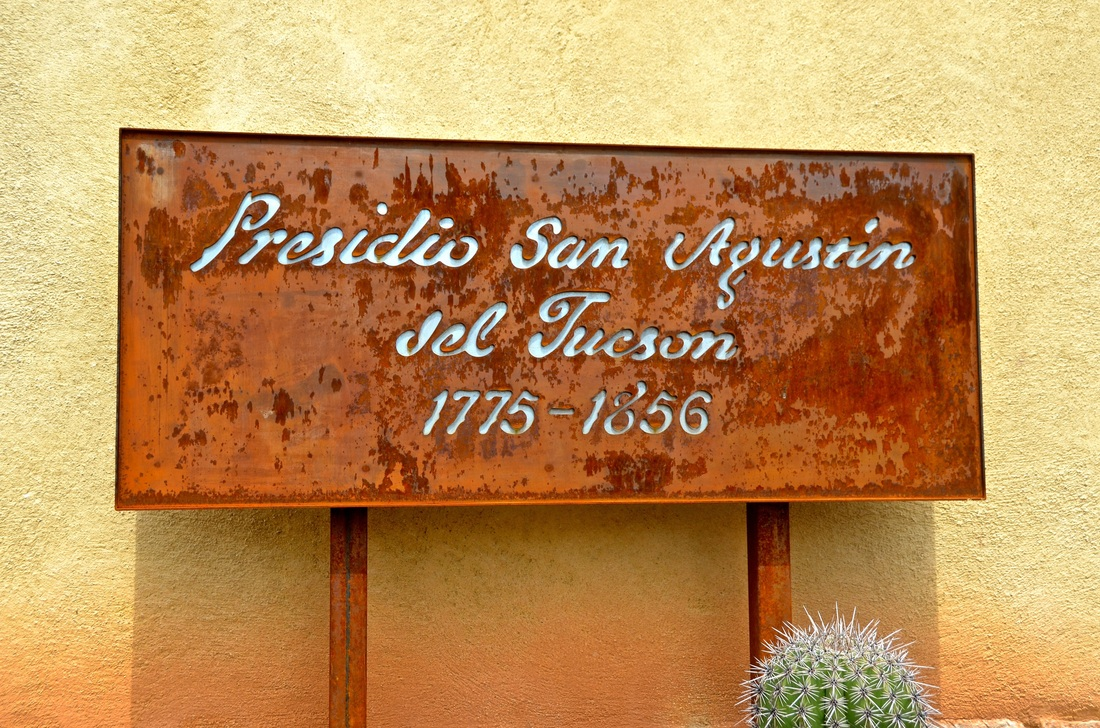 sign in front of the Presidio gift shop welcoming visitors